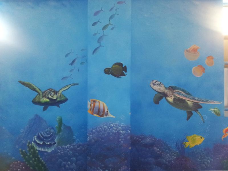 光谷九小海洋馆墙绘图片